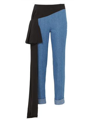 Romeo Side Drape Cigarette Pants, DENIM, hi-res