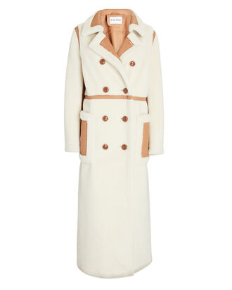 Bibi Double-Breasted Faux Shearling Coat, IVORY, hi-res