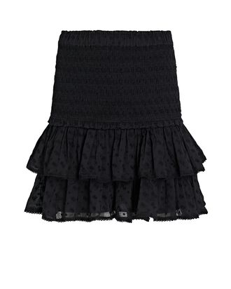 Tinaomi Smocked Cotton Mini Skirt, BLACK, hi-res