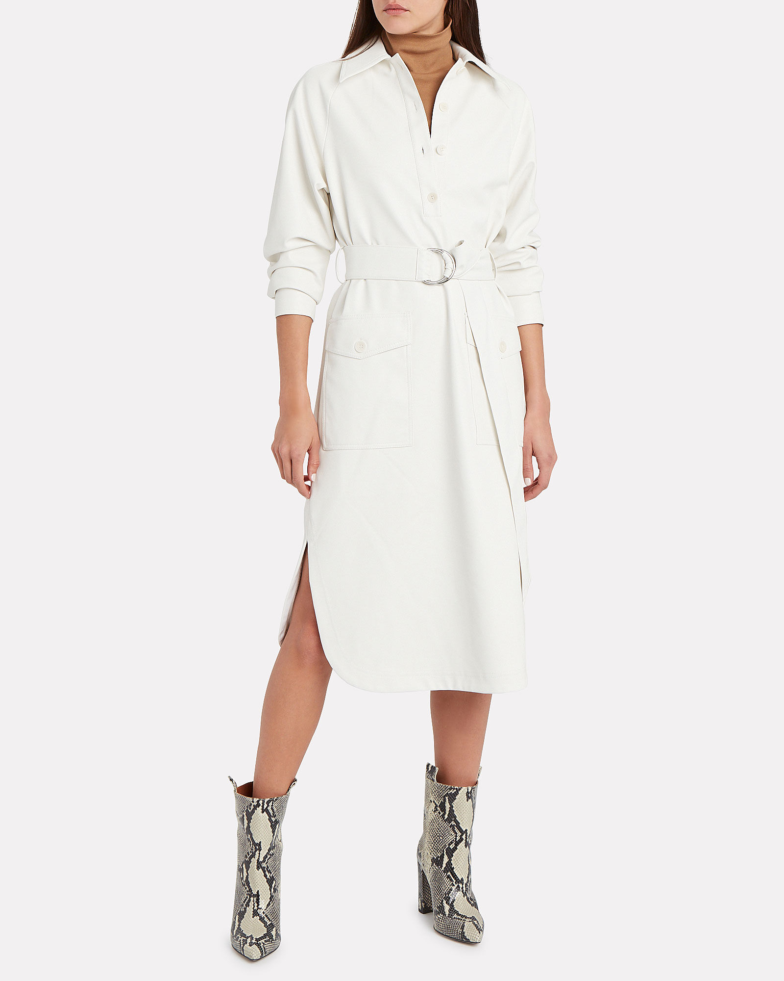 Faux Leather Belted Shirt Dress, WHITE, hi-res