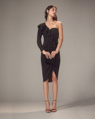 Leona One Shoulder Black Polka Dot Dress, BLACK/WHITE POLKA DOT, hi-res