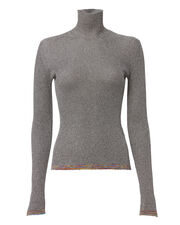 Contrast Band Lurex Turtleneck, SILVER, hi-res