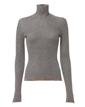 Contrast Band Lurex Turtleneck, METALLIC, hi-res