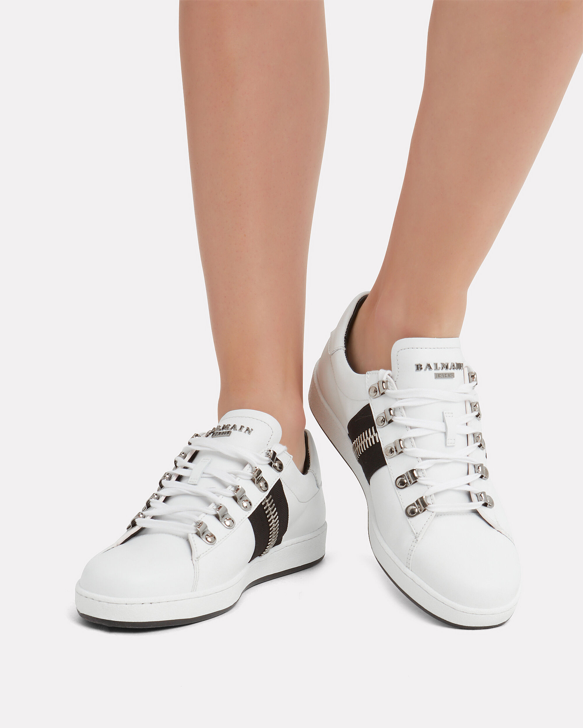 Esther Zip Detail Sneakers, WHITE, hi-res