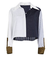 Cropped Patchwork Button-Down Shirt, WHITE/NAVY/OLIVE, hi-res