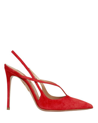 Soul Suede Slingback Pumps, RED, hi-res