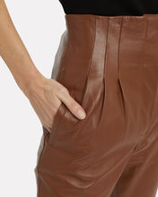 Tapered High-Waist Leather Pants, BROWN/LEATHER, hi-res