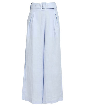 Lena Wide-Leg Linen Pants, BLUE-LT, hi-res