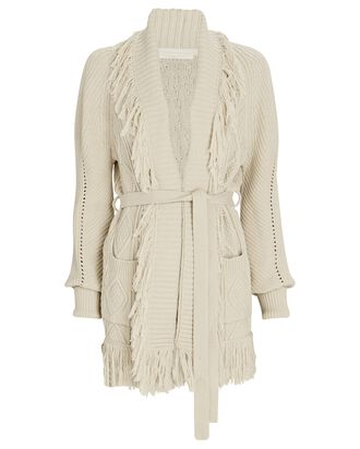 Anina Fringed Fisherman Wrap Cardigan, IVORY, hi-res