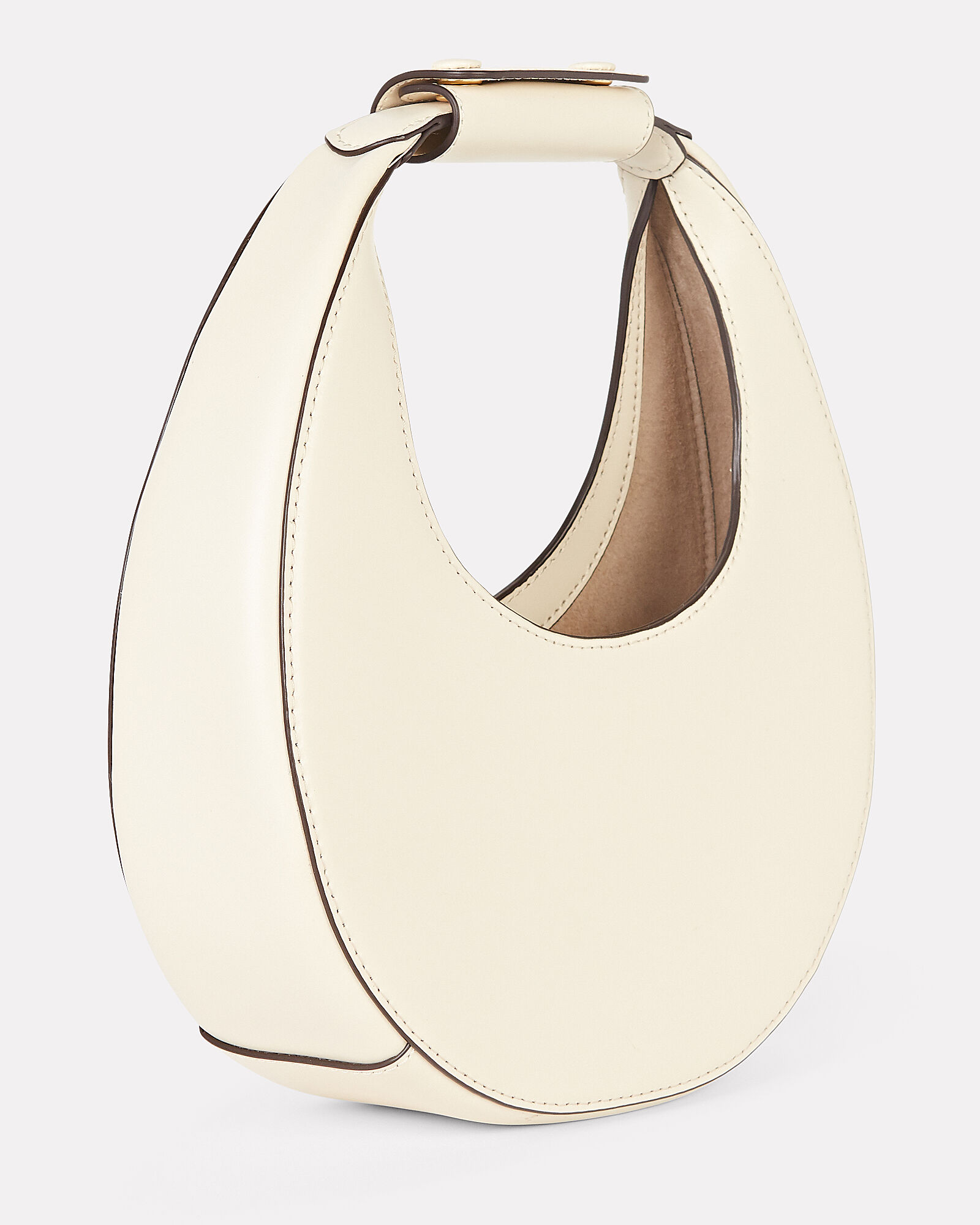 Mini Moon Leather Hobo Bag, IVORY, hi-res