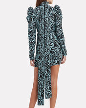 Marne Zebra-Printed Plissé Dress, BLACK, hi-res