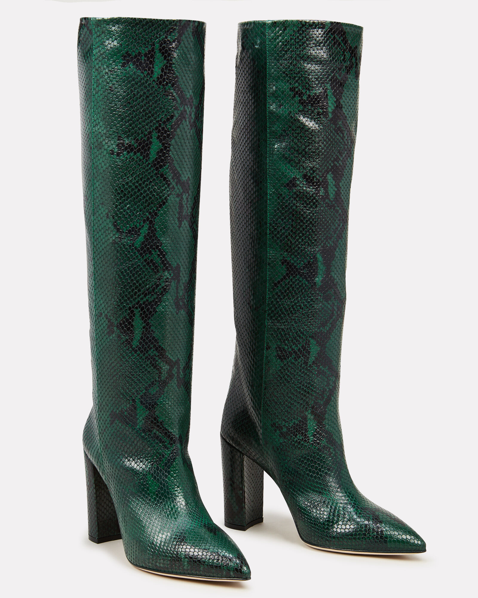 Python-Embossed Leather Knee-High Boots, GREEN, hi-res