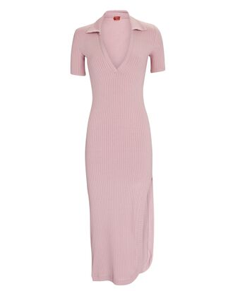 Spencer Ribbed Midi Polo Dress, PINK, hi-res