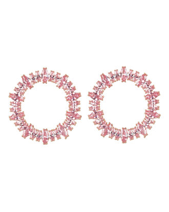 Fifi Pink Stone Hoops, PINK/ROSE GOLD, hi-res