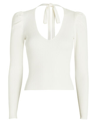 Madelina Puff Sleeve Rib Knit Top, IVORY, hi-res