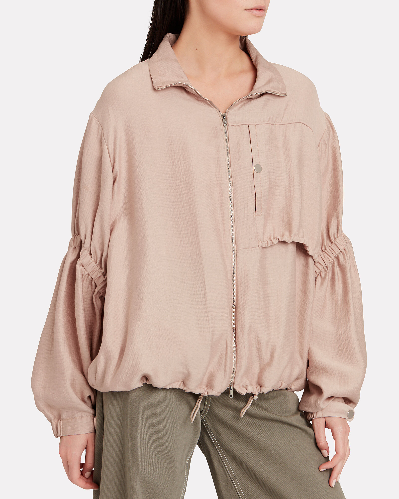 Zip-Up Anorak With Cinched Sleeves, PINK, hi-res