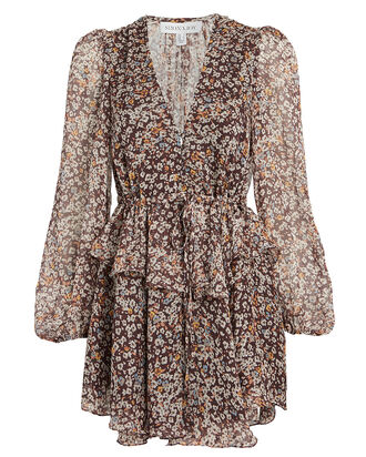 Garner Floral Chiffon Mini Dress, TAUPE/FLORAL, hi-res