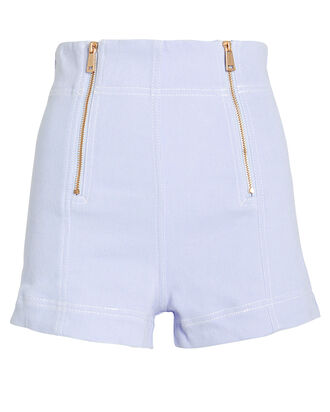 Peace Zipper Shorts, PERIWINKLE, hi-res