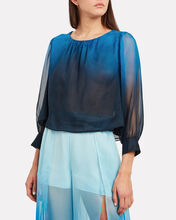 Ombré Tie Long Sleeve Top, BLUE-MED, hi-res