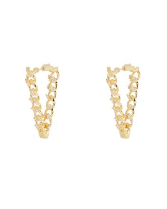 Chulo Chain-Link Triangle Hoop Earrings, GOLD, hi-res