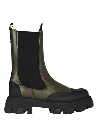 Leather Lug Sole Combat Boots, OLIVE/ARMY, hi-res