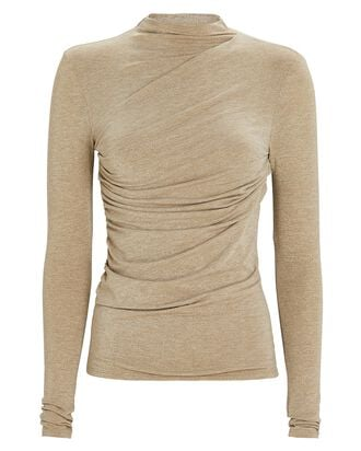 Ruched Lurex Knit Top, GOLD, hi-res