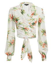 Floral Crop Blouse, WHITE/FLORAL, hi-res