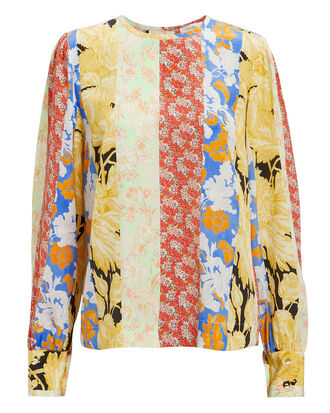 Karolina Wallpaper Silk Blouse, BLUE/YELLOW/RED, hi-res