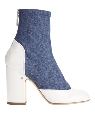 Melody Denim and Patent Leather Booties, DENIM, hi-res