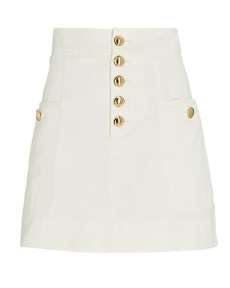 Palmer Button-Front Mini Skirt, IVORY, hi-res