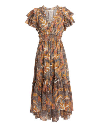 Cicely Printed Cotton Midi Dress, BROWN, hi-res