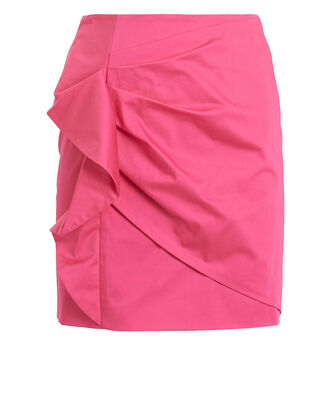 Perinne Asymmetrical Ruched Mini Skirt, PINK, hi-res