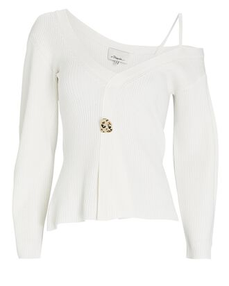 Rib Knit One-Shoulder Sweater, WHITE, hi-res