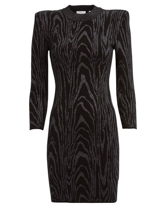 Ziggy Metallic Jacquard Mini Dress, BLACK/SILVER, hi-res