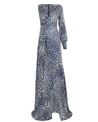 Kasadee One-Shoulder Cheetah Print Gown, BLUE/WHITE, hi-res