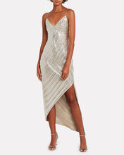 Lamé Asymmetric Slip Dress, SILVER, hi-res