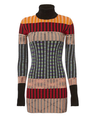 Multicolor Turtleneck Mini Dress, MULTI, hi-res