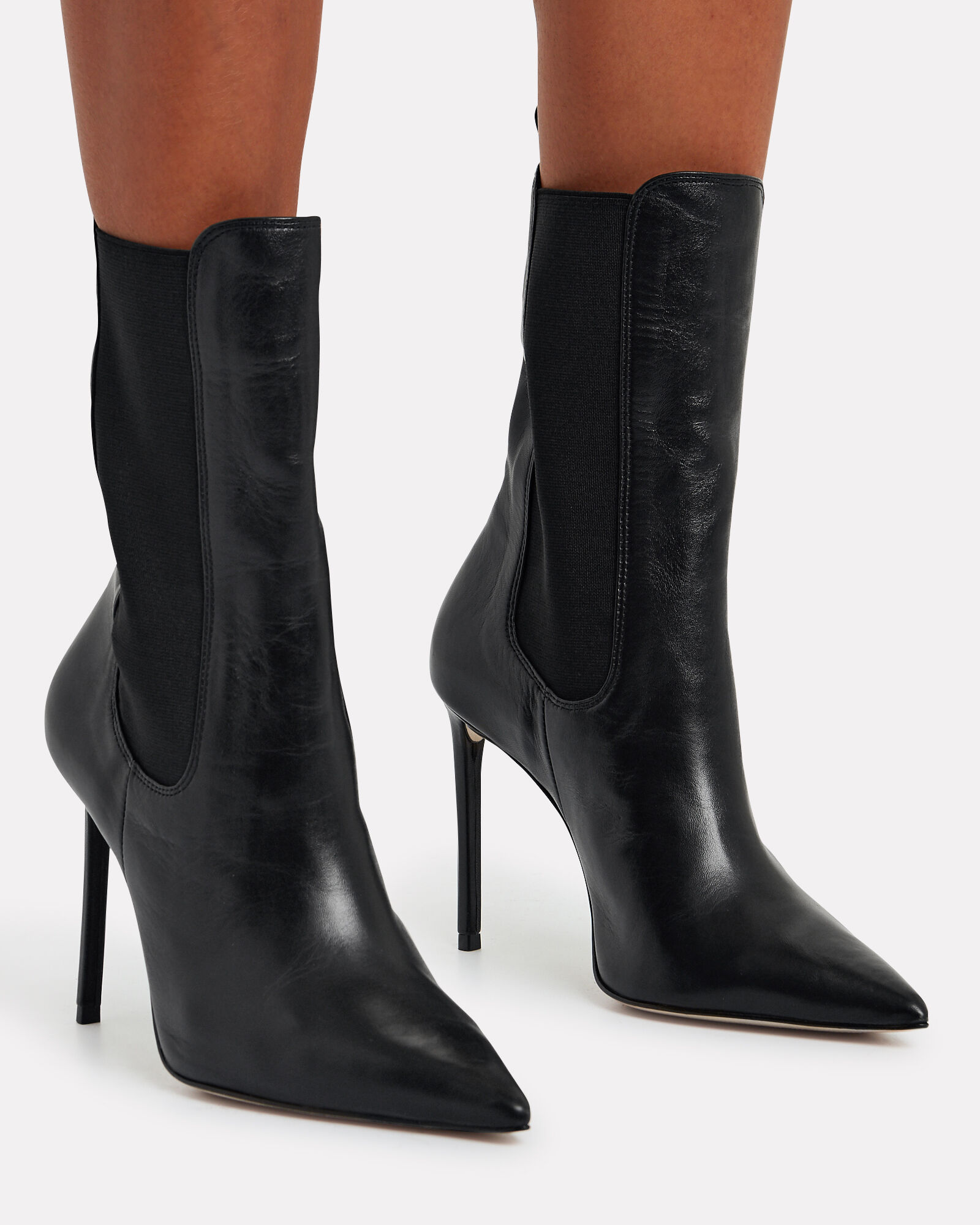 Zarina Leather Chelsea Booties, BLACK, hi-res