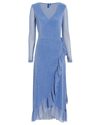 Nadia Mesh Wrap Dress, BLUE-MED, hi-res