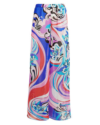 Printed Silk Wide Leg Pants, MULTI, hi-res