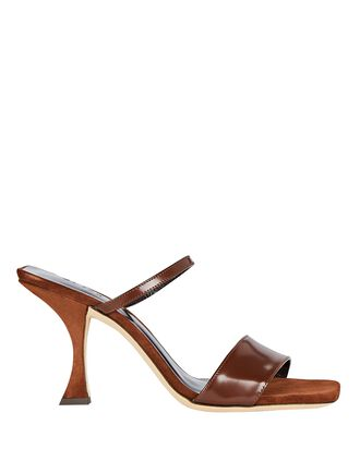 Nayla Leather Slide Sandals, BROWN, hi-res