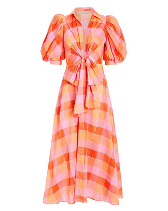 Perth Puff-Sleeved Checkered Dress, PINK/ORANGE, hi-res