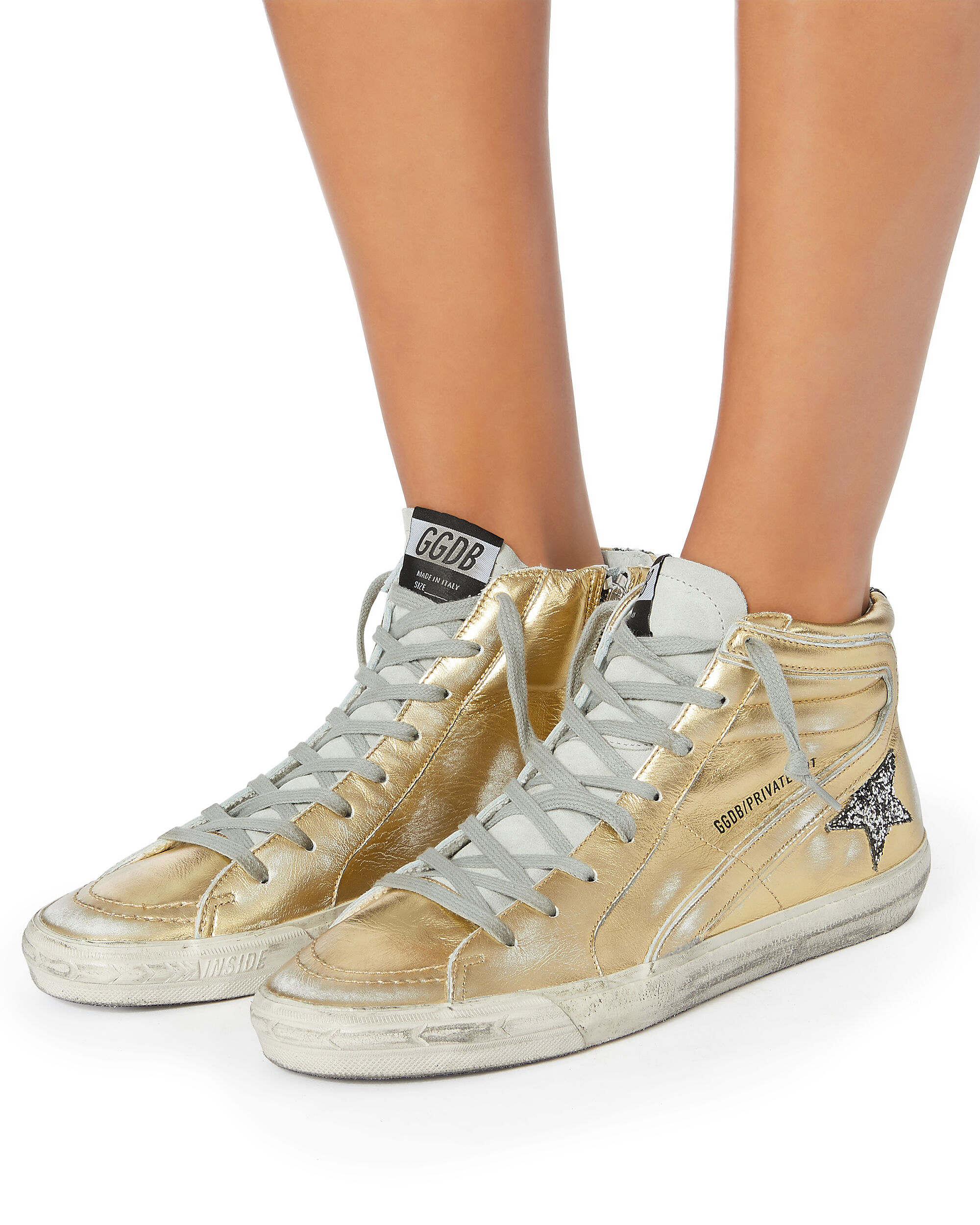 Slide Glitter Star Gold Leather High-Top Sneakers, METALLIC, hi-res