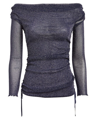 Ruched Shimmer Tulle Top, METALLIC/NAVY, hi-res