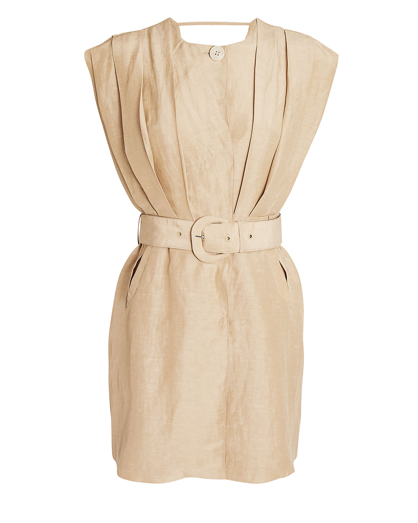 Leon Tucked Mini Dress, BEIGE, hi-res