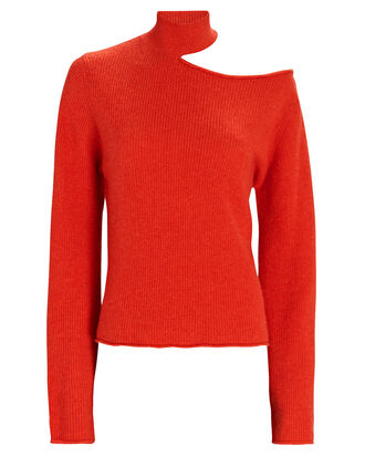 Langley Cut-Out Turtleneck Sweater, RED, hi-res