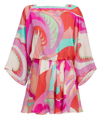 Printed Cover-Up Mini Dress, MULTI, hi-res