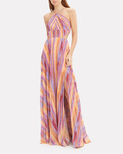 Janet Rainbow Stripe Pleated Gown, PURPLE/PINK/YELLOW, hi-res