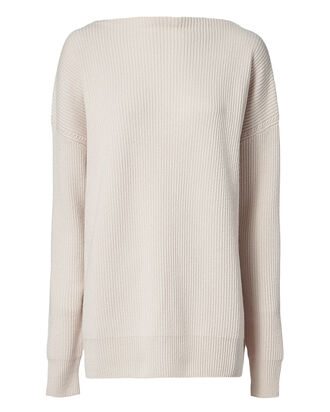 Ribbed Cashmere Sweater, IVORY, hi-res