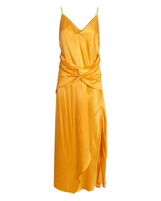 Portland Twisted Satin Dress, ORANGE, hi-res